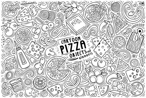 Set of Pizza items, objects and symbols Line art vector hand drawn doodle cartoon set of Pizza theme items, objects and symbols mozzarella stock illustrations