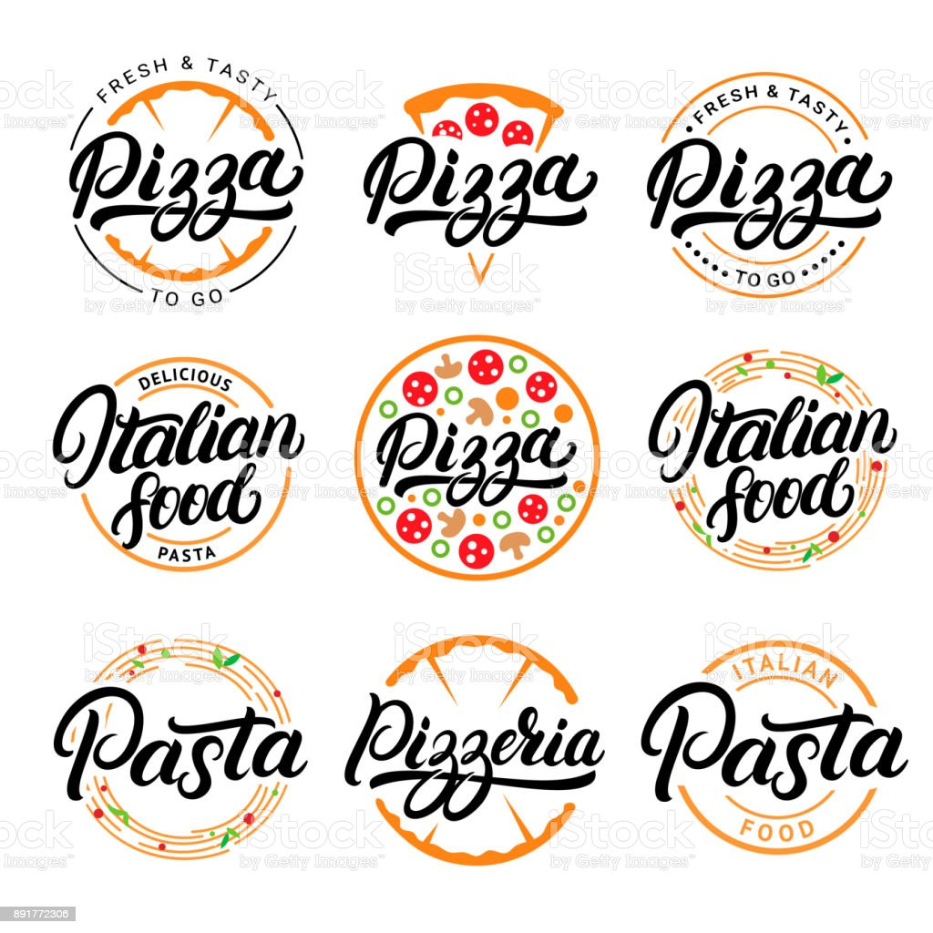Set of pizza, pasta, pizzeria and italian food hand written lettering symbols, labels, badges. vector art illustration
