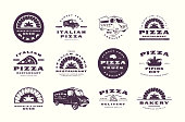 Set of pizzeria, bakery labels and emblems. Pizza truck and stone oven image. Isolated on white background