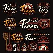Set of pizzeria labels, badges, and design elements. Color print on black background