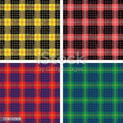 Set of plaid pattern seamless. Tartan patterns fabric texture. Checkered geometric vector background. Scottish stripe blanket backdrop stock illustration. The colours are easy to edit.