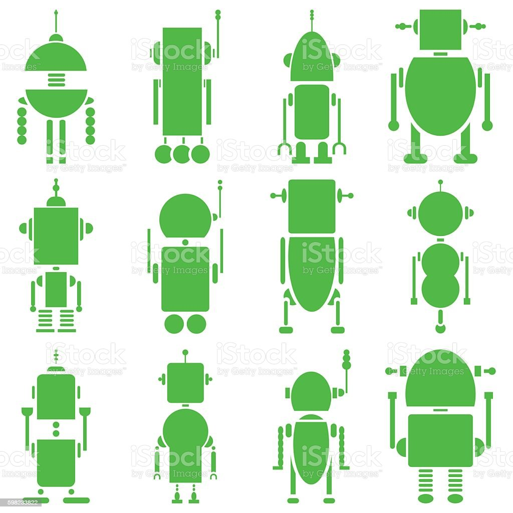 Set of plain futuristic robots shapes in green ilustração de set of plain futuristic robots shapes in green e mais banco de imagens de abstrato royalty-free