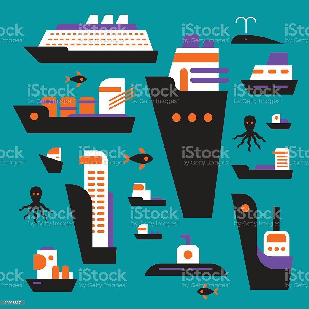 Set of planar boats and ships. Sea pattern. vector art illustration