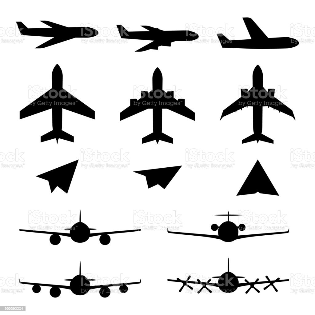 Set of plane icons vector art illustration