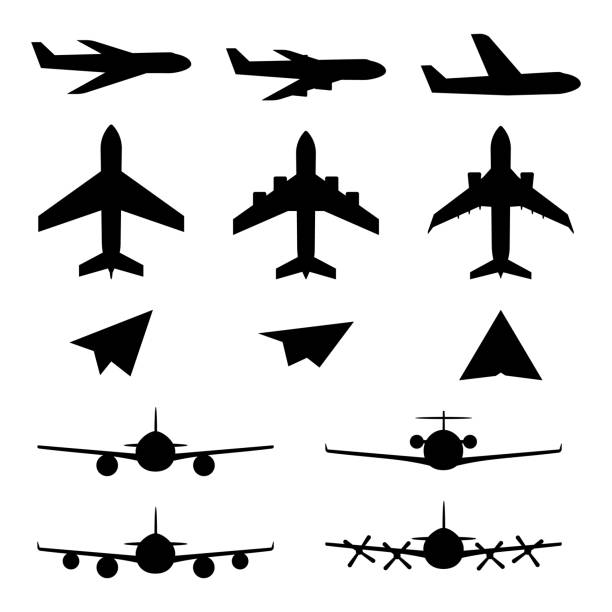 Set of plane icons Set of plane icons. Jet airplanes, paper wings. Personal and charter jetliner. Cargo and passenger airliner. Propeller jet airport stock illustrations