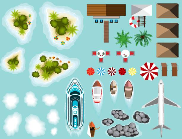 bildbanksillustrationer, clip art samt tecknat material och ikoner med uppsättning av planet, öar, beach infrastruktur, fartyg - ö