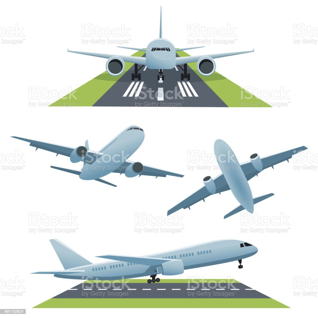 Set of planes in different views vector art illustration
