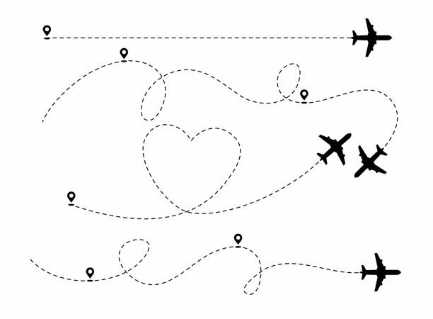 Set of planes path with location pins vector illustration. Heart dashed line trace and plane routes. Set of planes path with location pins vector illustration. Heart dashed line trace and plane routes. airport backgrounds stock illustrations