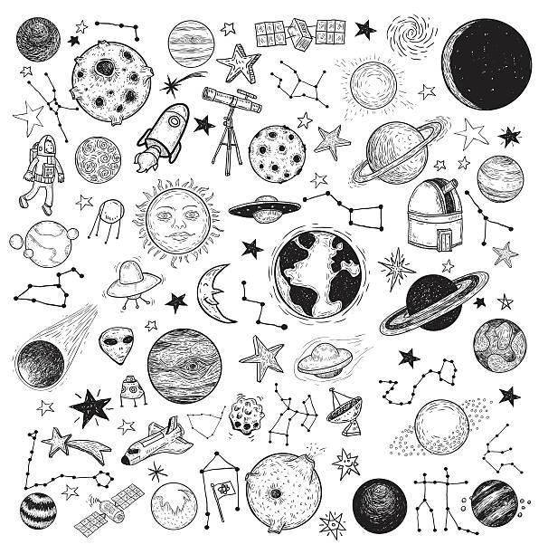 набор иконок планет, руки drawn векторная иллюстрация. - space background stock illustrations