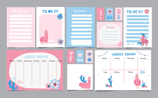 Set of planners and to do lists with simple scandinavian illustrations and trendy lettering with cacti and cute llama characters. Vector Template for agenda, planners and other stationery. Isolated.