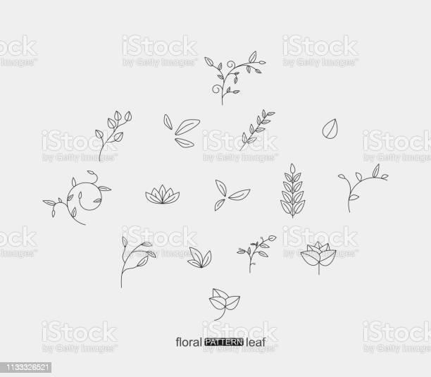 Satz Von Pflanzblumenund Blattmustersymbol Stock Vektor Art und mehr Bilder von Arabeske