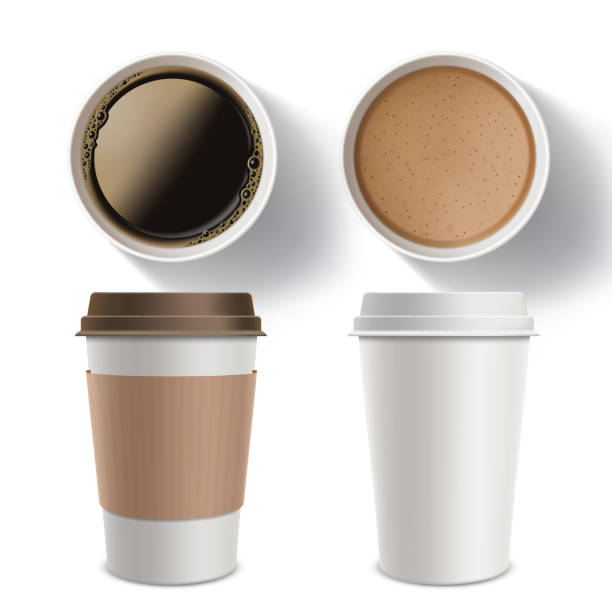set of plastic containers of coffee. isolated mockup on a white background. - junk food stock illustrations, clip art, cartoons, & icons