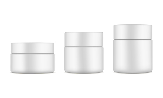 Set of plastic cosmetic jars mockups isolated on white background