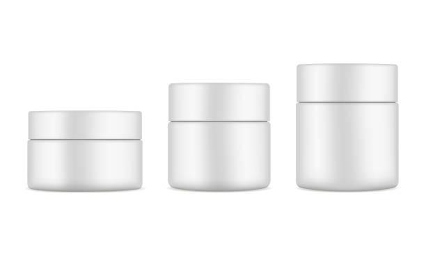 Set of plastic cosmetic jars mockups isolated on white background Set of plastic cosmetic jars mockups isolated on white background. Cosmetics packaging 50ml, 100ml, 150ml. Vector illustration jar stock illustrations