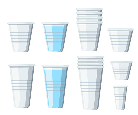 Set of plastic cups. Transparent disposable cups of different sizes. Empty glasses and with water. Vector illustration isolated on white background