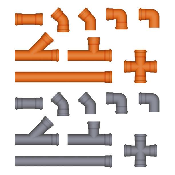 satz von plastik kanalisationsabflüsse rohren. - pvc stock-grafiken, -clipart, -cartoons und -symbole