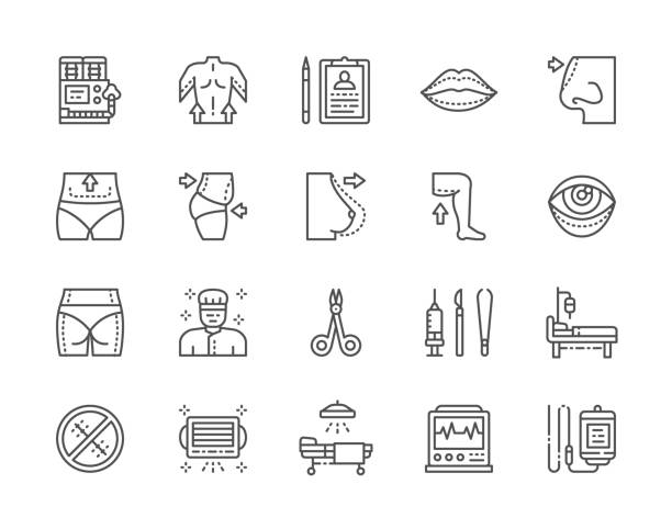 set of plastic surgery line icons. surgeon, liposuction, rhinoplasty and more. - talia tułów stock illustrations