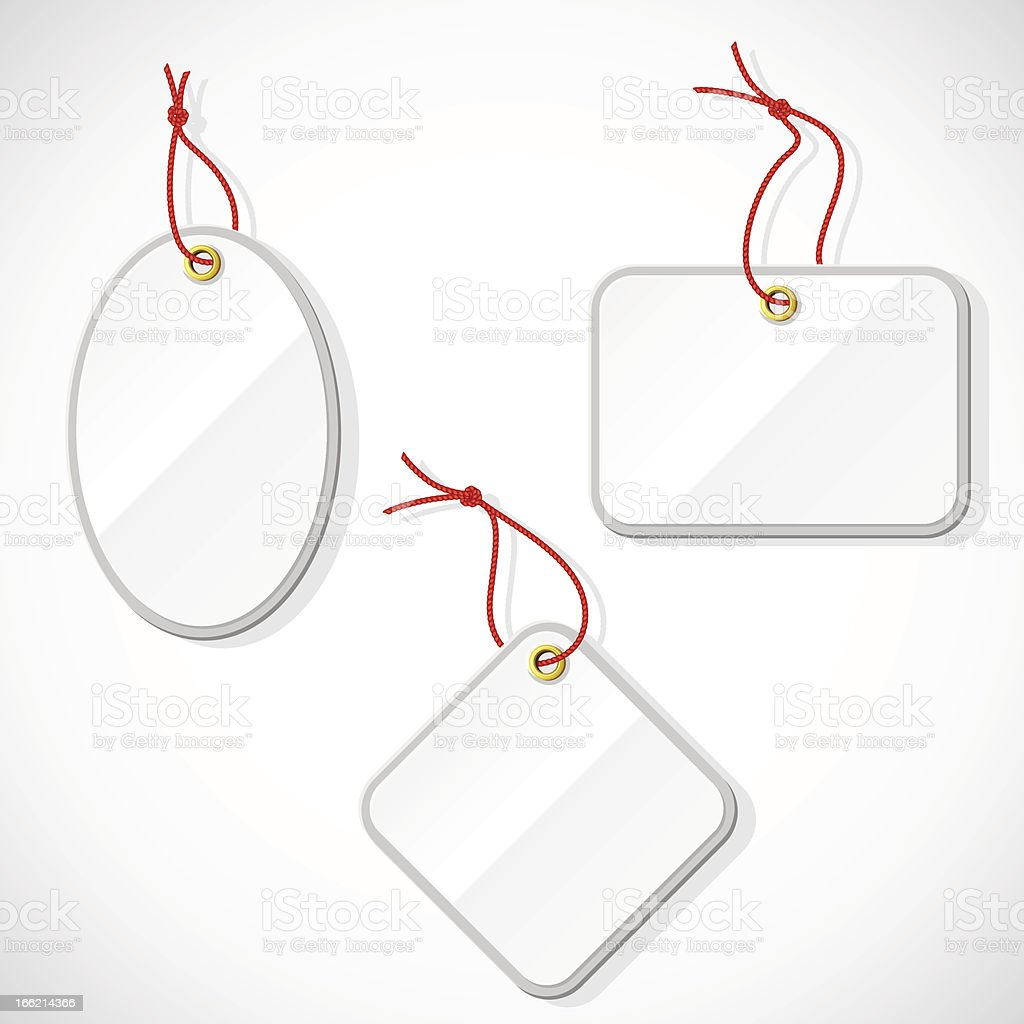 Set of plastic tags on the rope. royalty-free stock vector art
