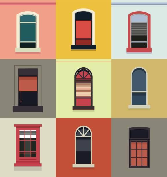 ilustrações, clipart, desenhos animados e ícones de conjunto de janelas de madeira plásticas - molduras decorativas