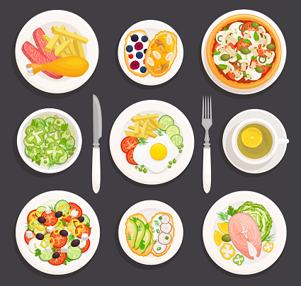 Set of plates with food. Vector illustration. Top view.
