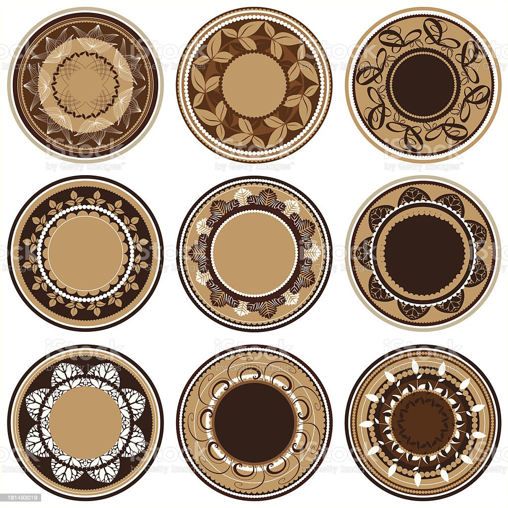 set of plates with vegetative ornament royalty-free stock vector art