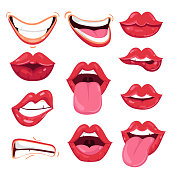 Set of various cartoon red lips showing various playful and positive emotions isolated on white background