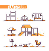 Set of playground elements - modern vector isolated objects on white background in line design style. Sandbox, merry-go-round, slide, swing, horizontal bar, rings, spring rider, jungle gym, seesaw, basketball
