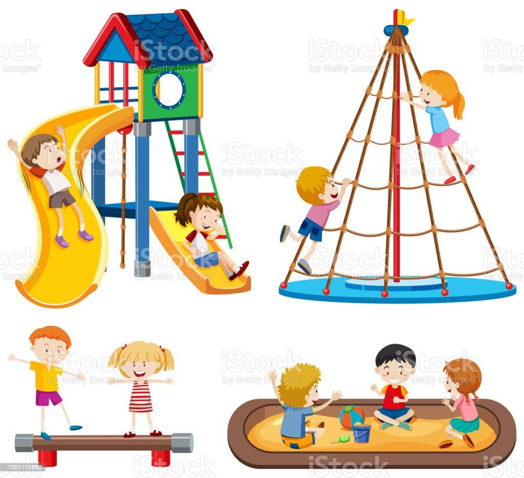 Set of playground scenes vector art illustration