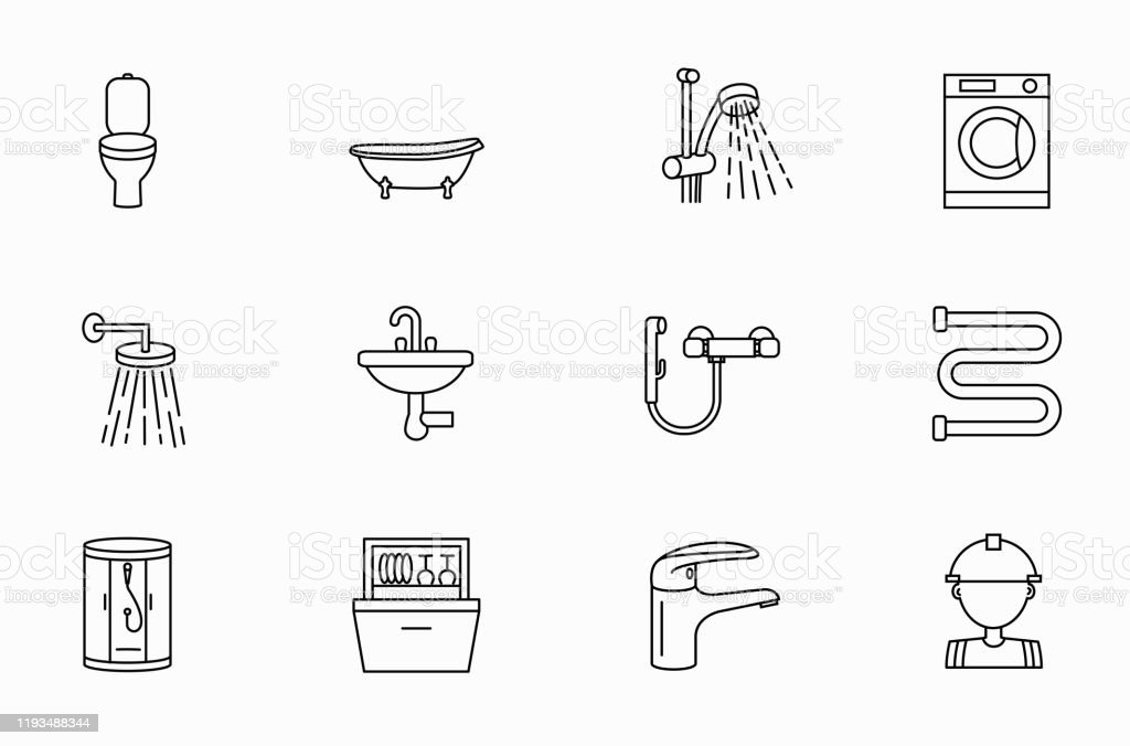 Set Of Plumbing Icons Plumber Faucetwater Piping Bathtub Valve Tap Sewer Washbasin Restroom Shower Stall Sink Bath Washing Machine Dishwasher Bidet Sprayer Water Supply Stock Illustration Download Image Now Istock