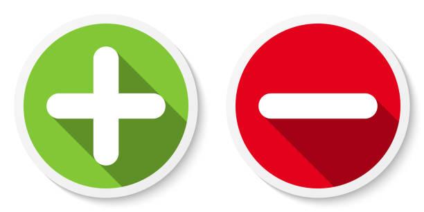 illustrazioni stock, clip art, cartoni animati e icone di tendenza di set di icone segno più e meno, pulsanti. adesivi a simbolo rotondo piatto positivo e negativo. - segno meno