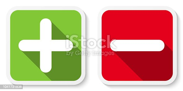 Set of plus & minus sign icons, buttons. Flat square positive & negative symbol stickers. Vector EPS 10