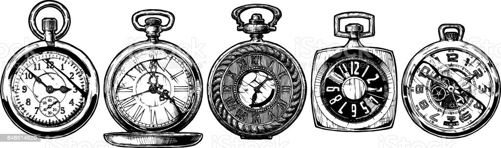 set of pocket watches vector art illustration