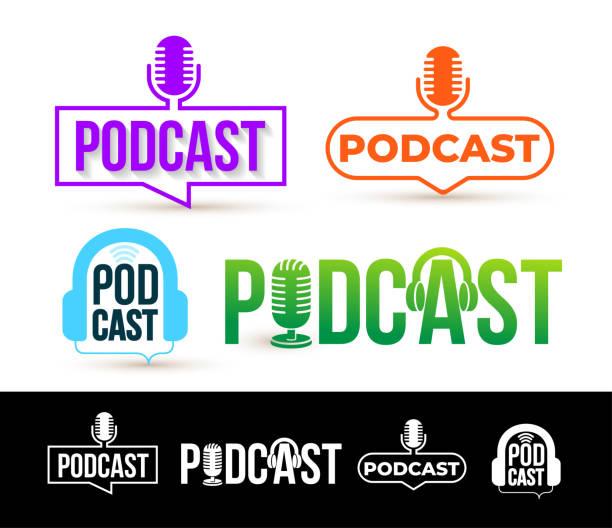 ilustrações, clipart, desenhos animados e ícones de conjunto de logotipo de podcast. distintivo, ícone. ilustração em vetor. isolado no fundo branco. - podcast