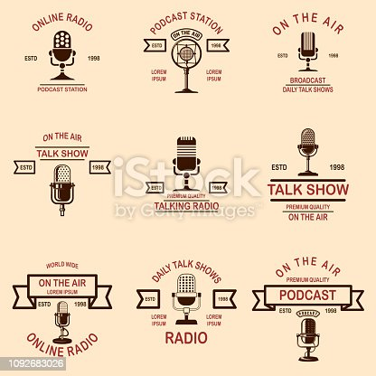 Set of podcast, radio emblems with microphone. Design element for label, sign, badge, poster. Vector illustration