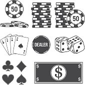 Set of poker and casino elements