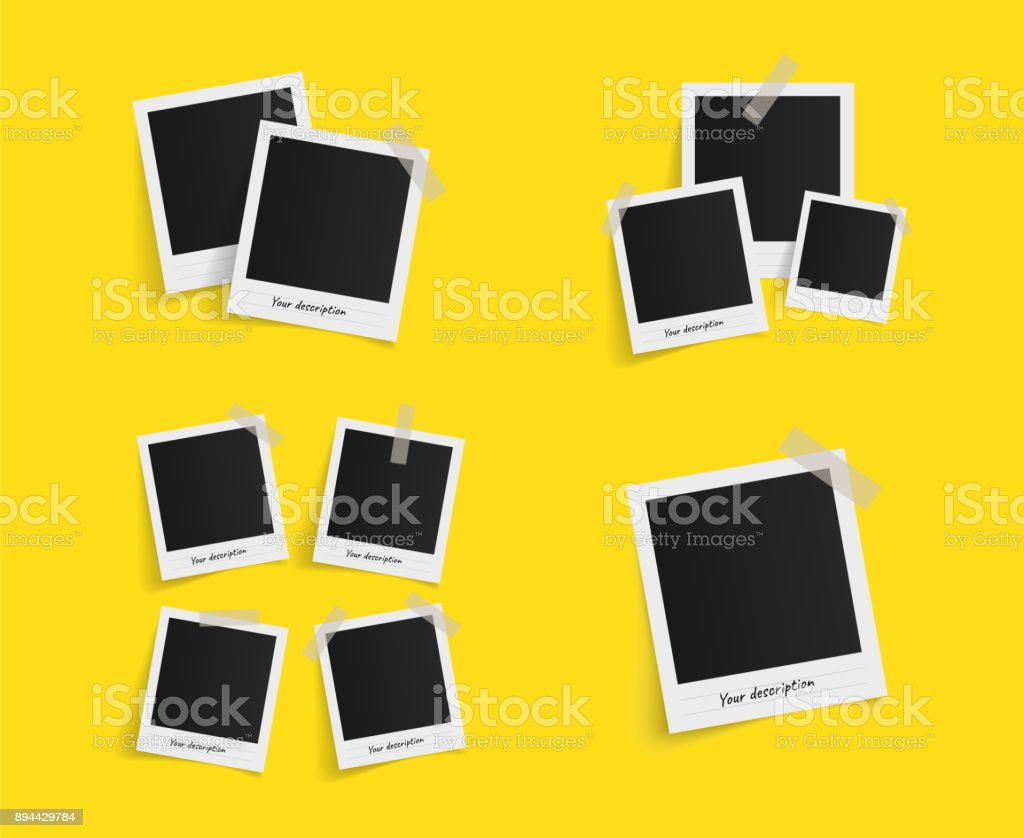 Set of polaroid vector photo frames on sticky tape on yellow background. Template photo design. Vector illustration