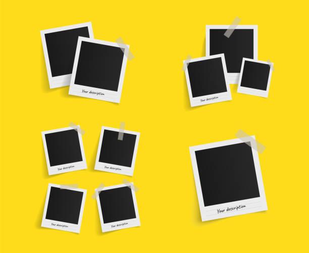ilustrações, clipart, desenhos animados e ícones de conjunto de frames da foto polaroid vetor na fita adesiva em fundo amarelo. modelo de design de foto. ilustração vetorial - imagem