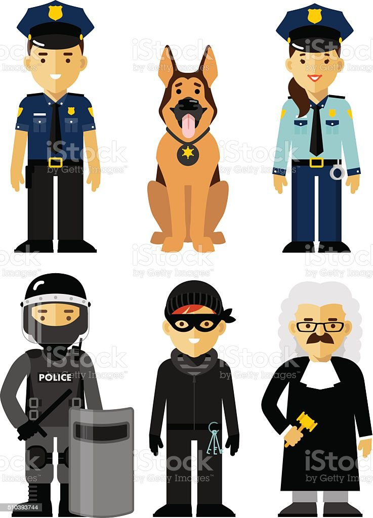 Set of police and law officer in uniform vector art illustration