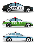 Set of police cars side view vector illustration isolated on white background. International police car. Vector illustration in flat style.