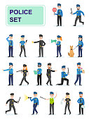 Set of police officers doing their job. Men and women policemen in different poses handcuff violators. Cartoon characters isolated on white background. Flat vector illustration.