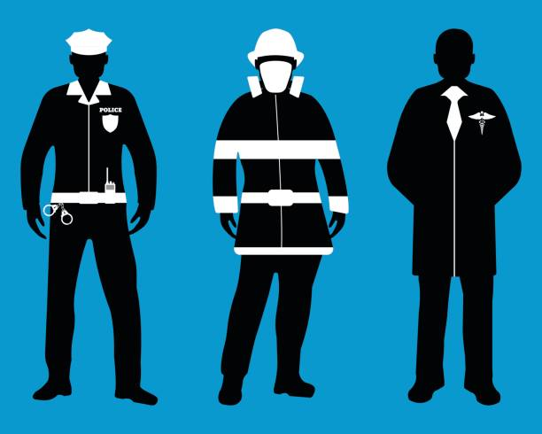 Set of Policeman, Doctor, Fireman flat icons. Service 911. Set of Policeman, Doctor, Fireman flat icons. Service 911. Silhouette Vector illustration. police meeting stock illustrations