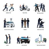 Illustration of policeman at work.