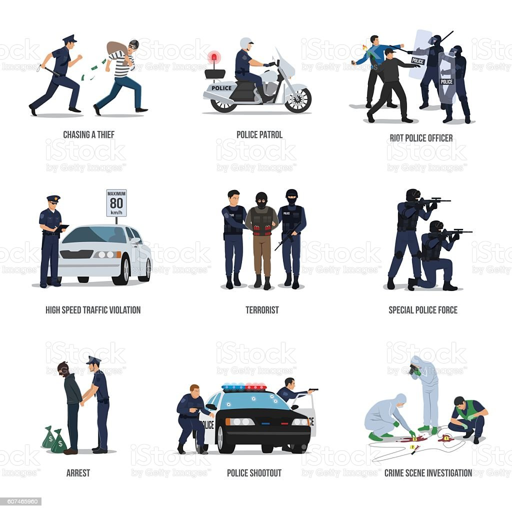 Set of policeman. Policeman at work concept. vector art illustration