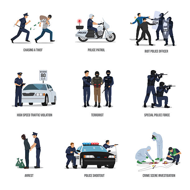 stockillustraties, clipart, cartoons en iconen met set of policeman. policeman at work concept. - gun shooting