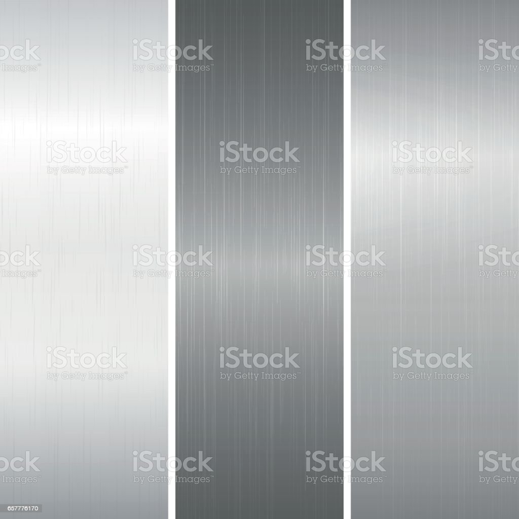 Set of polished metallic surface vector art illustration