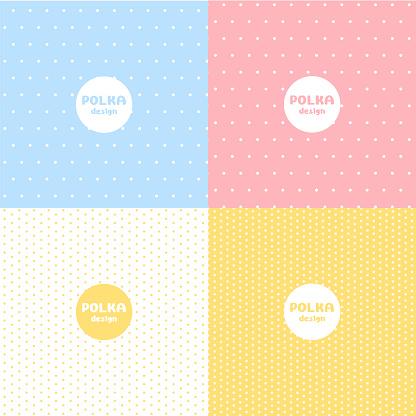 Set of Polka dot pastel colour pattern design