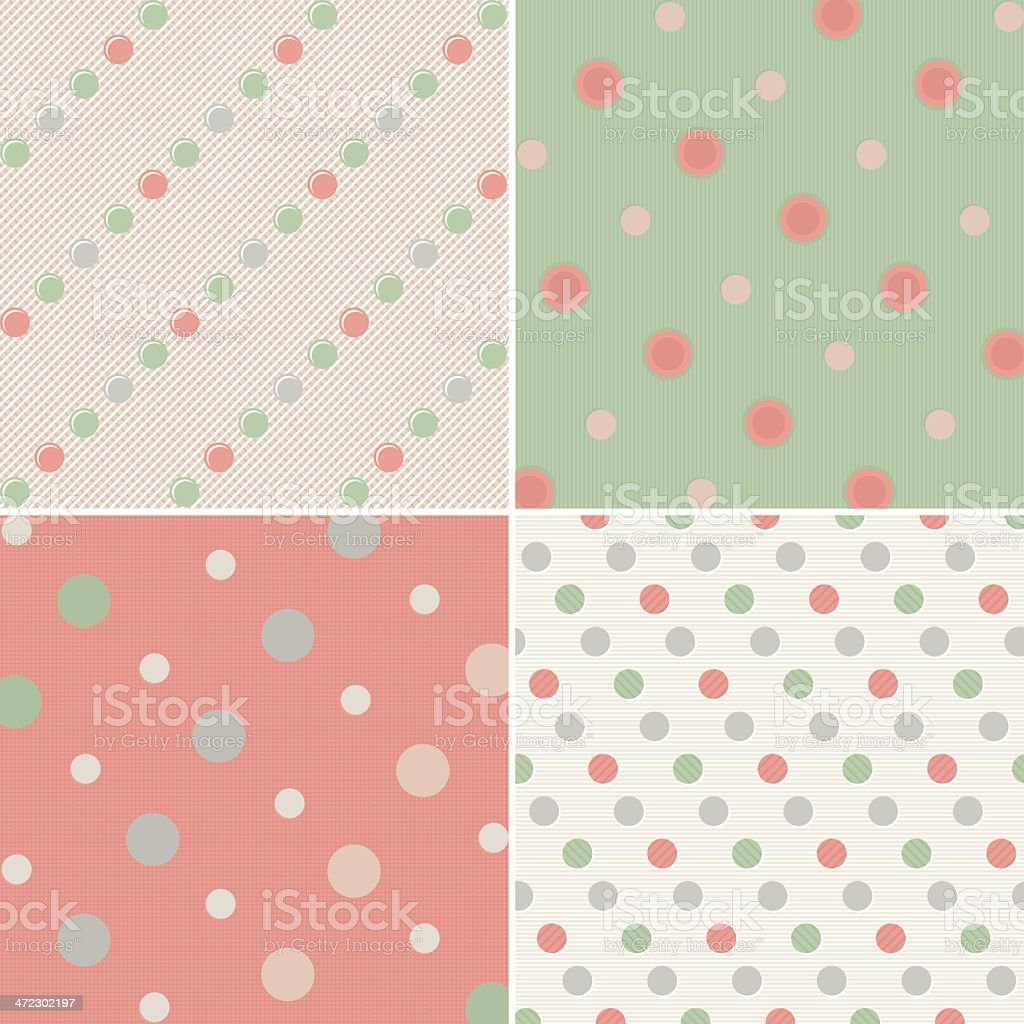 Set of Polka Dot Patterns royalty-free stock vector art
