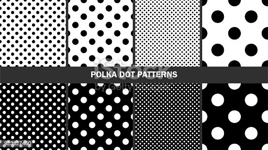 Set of polka dots patterns/ Graphic stylish seamless vector backgrounds/ Classic patterns