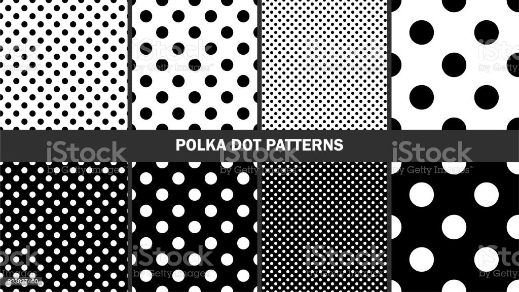 Set of polka dots patterns/ Graphic stylish seamless vector backgrounds/ Classic patterns векторная иллюстрация