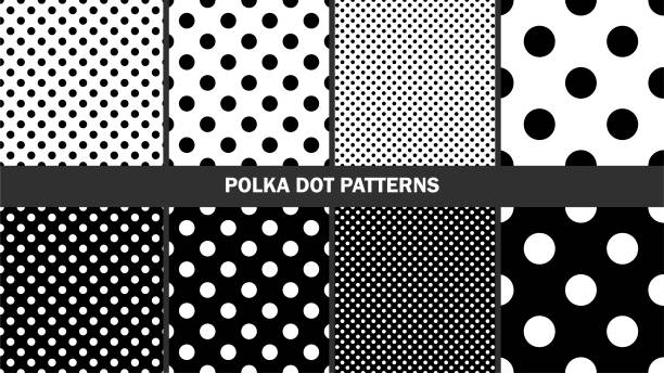 Set of polka dots patterns/ Graphic stylish seamless vector backgrounds/ Classic patterns Set of polka dots patterns/ Graphic stylish seamless vector backgrounds/ Classic patterns polka dot stock illustrations